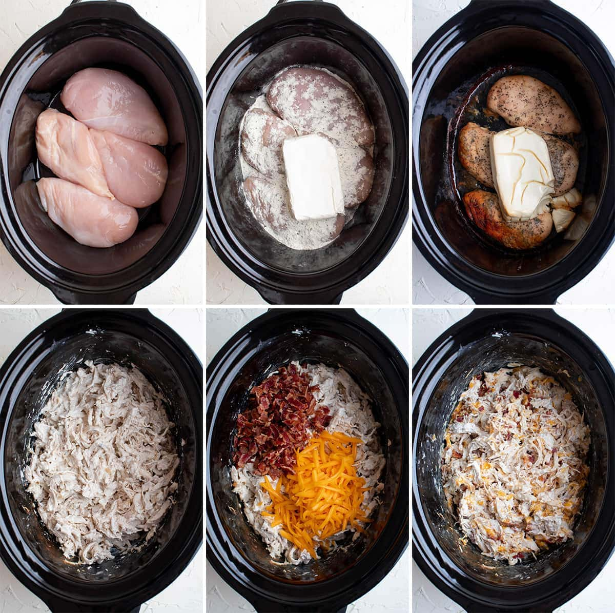 collage of images showing how to make slow cooker crack chicken