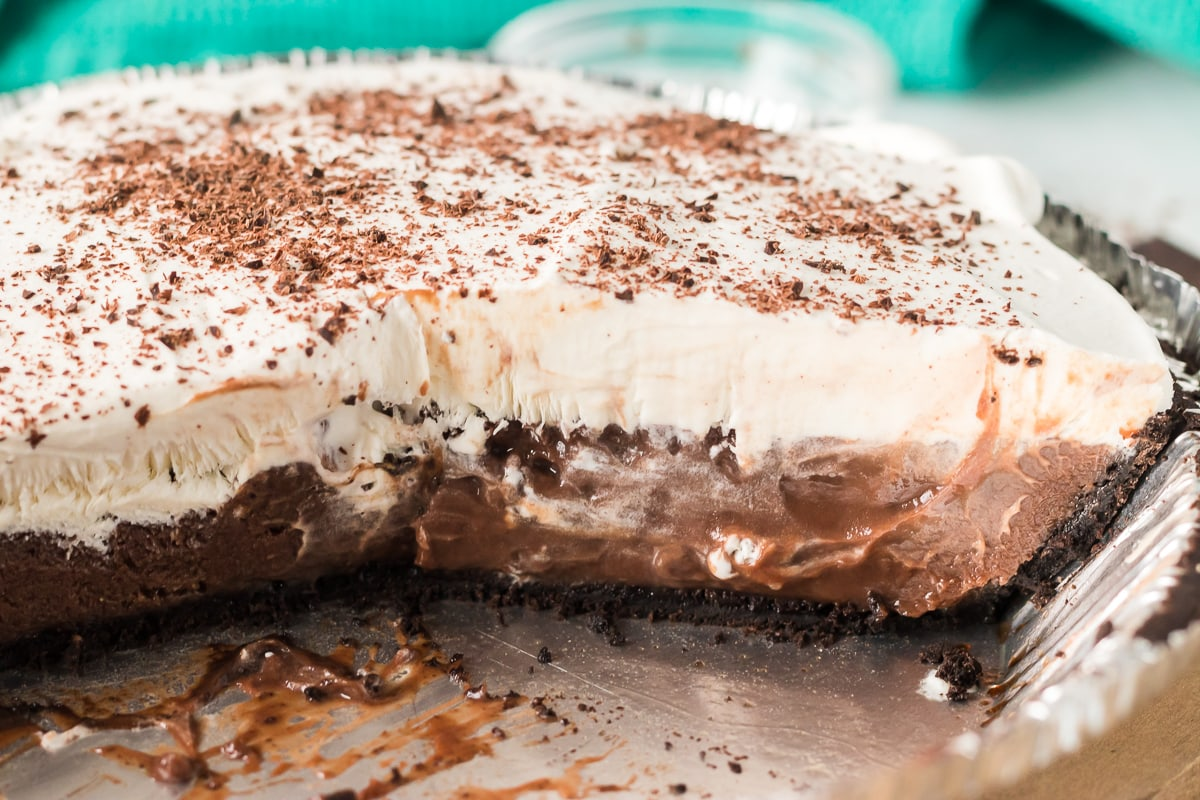 inside shot of chocolate cream pie in tin