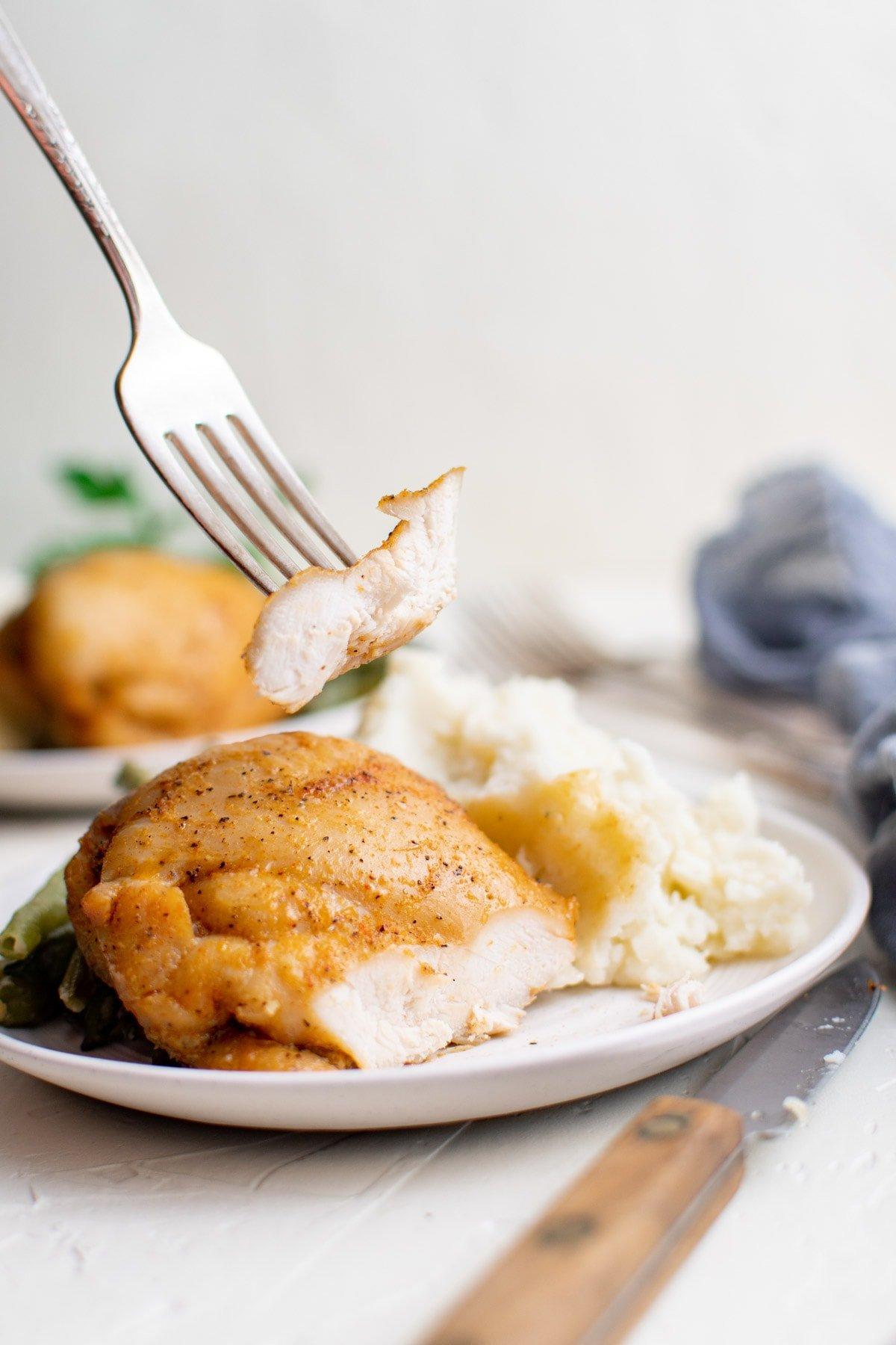bonelss chicken thighs, sliced fork