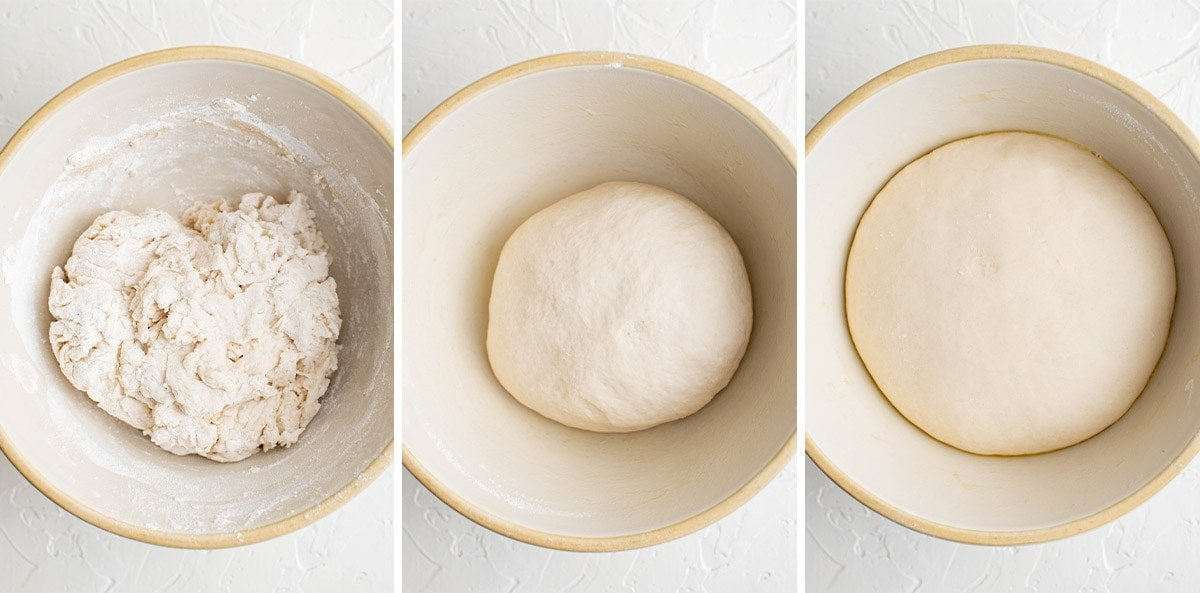 collage of photos showing how to mix the yeast and flour for homemade pretzels