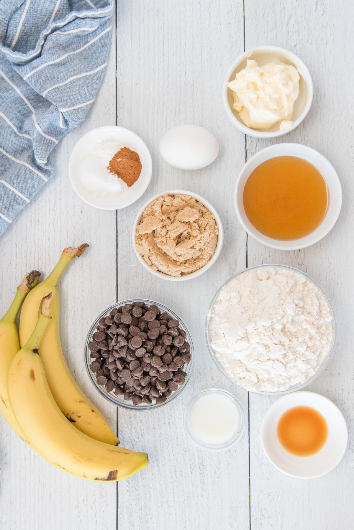 ingredients for chocolate cihp banana muffins