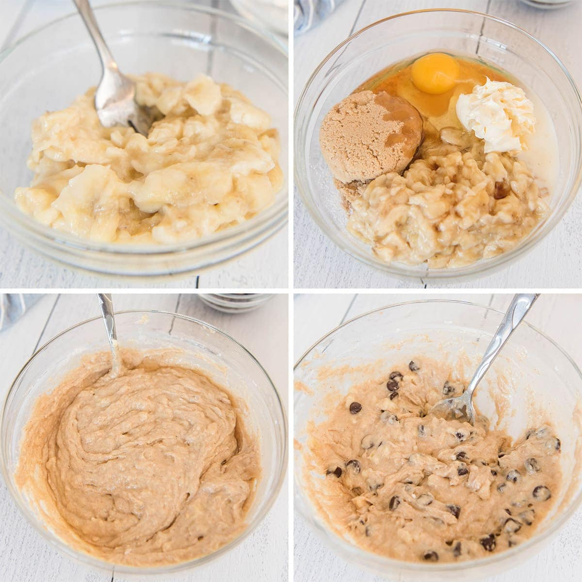 collage of process shot for making banana chocolate chip muffins