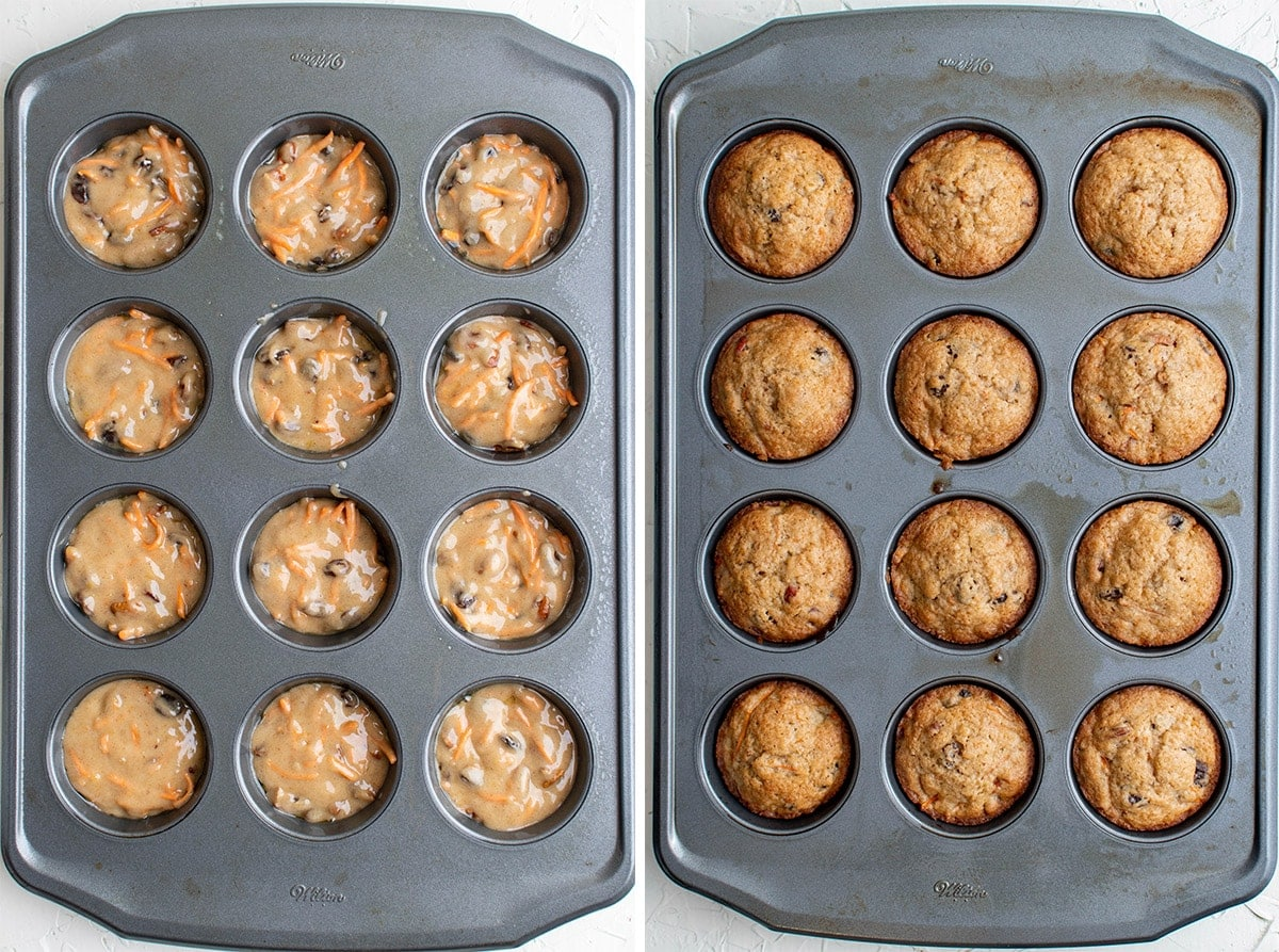 2 images of muffin batter in a 12 count muffin pan, then baked in the pan