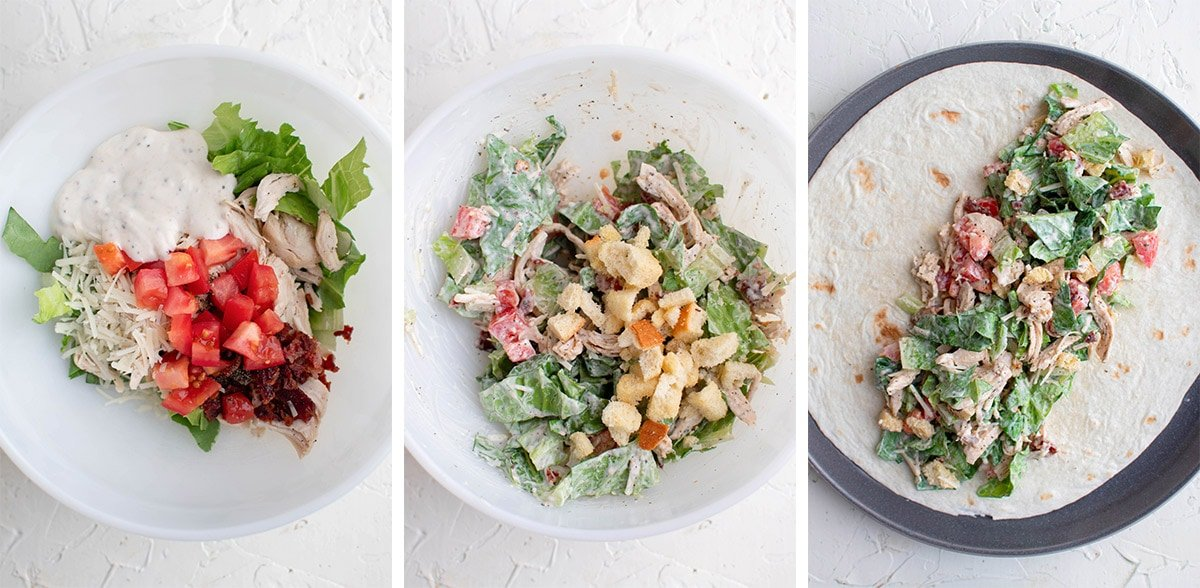 collage of images showing how to make caesar salad