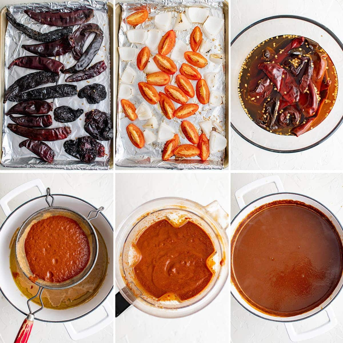 collage of images showing how to make mole sauce