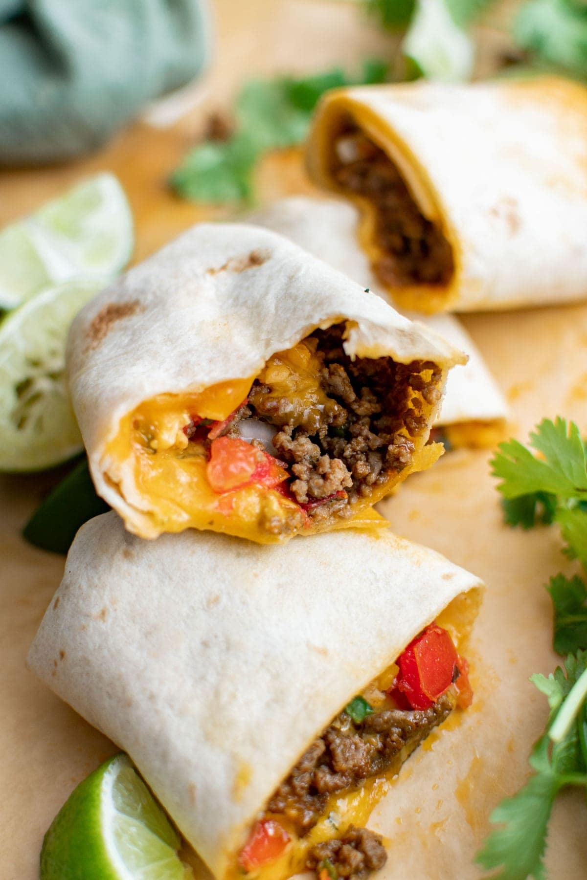 ground beef, cheese and pico de gallow wrapped in flour tortillas