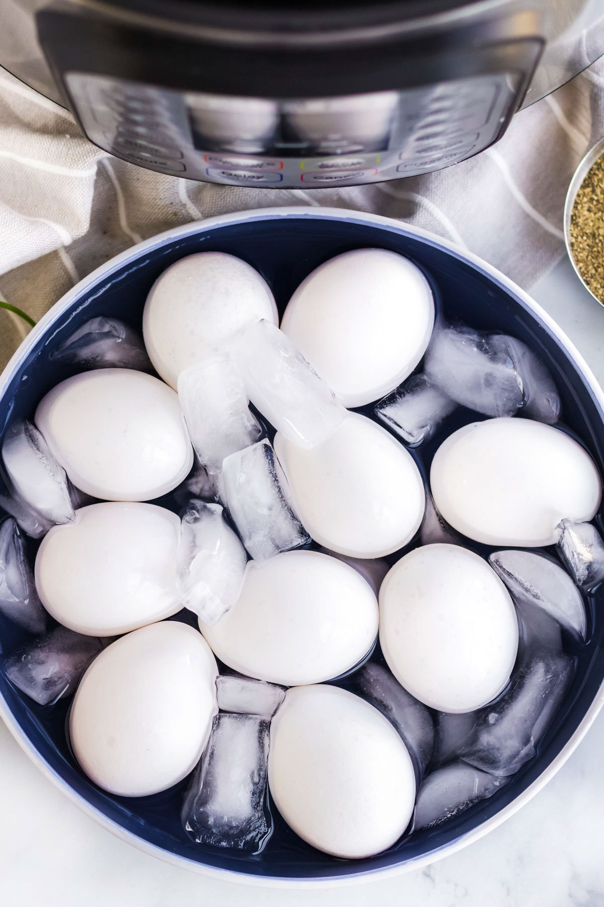 instant pot, eggs in a bowl of ice water