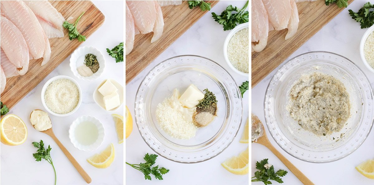 image collage for parmesan sauce for tilapia
