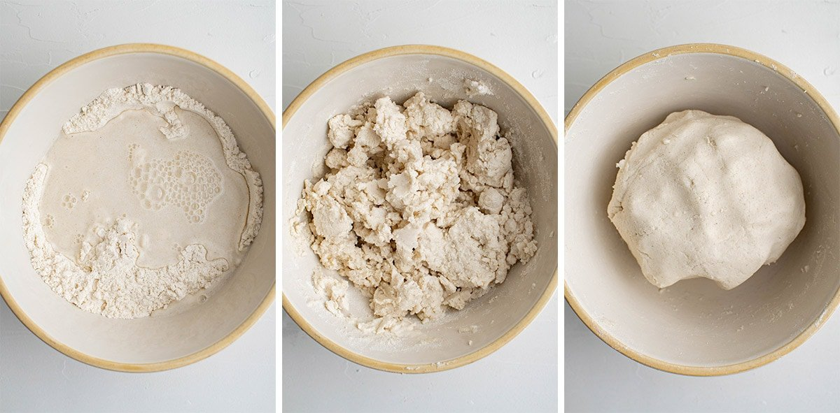 3 images showing how to make masa dough for corn tortillas