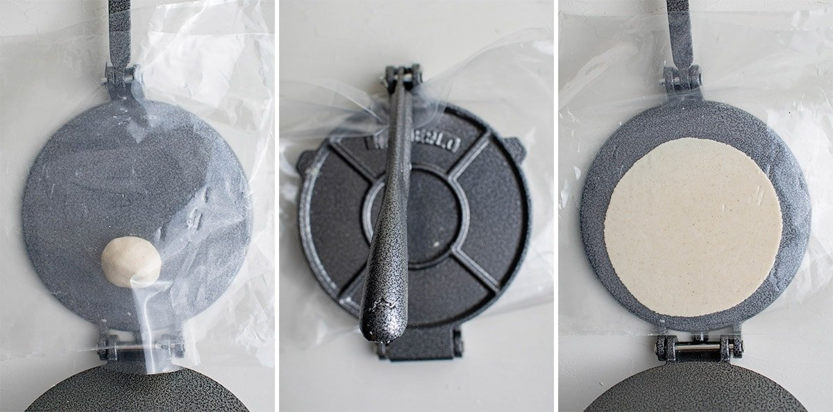 3 image collage showing how to press masa dough in a tortilla press