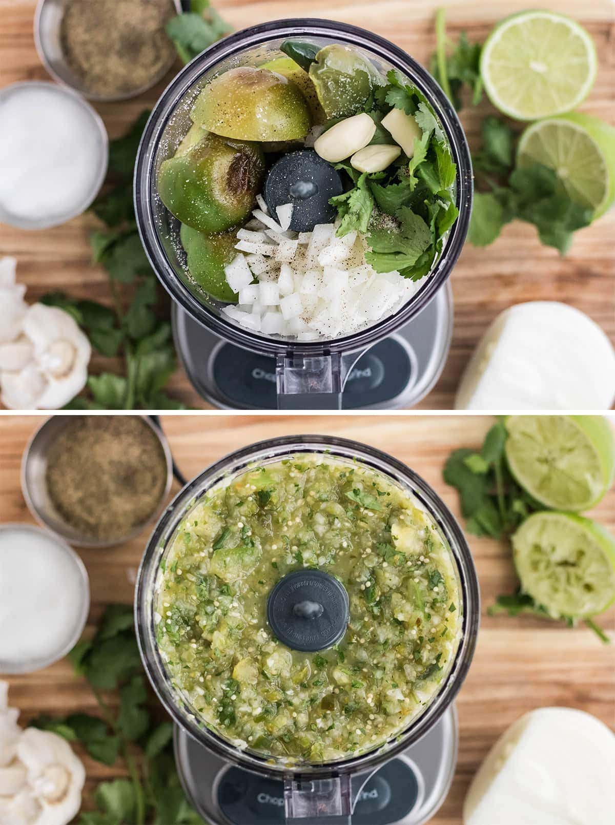 collage of food processor with ingredients for tomatillo salsa verde
