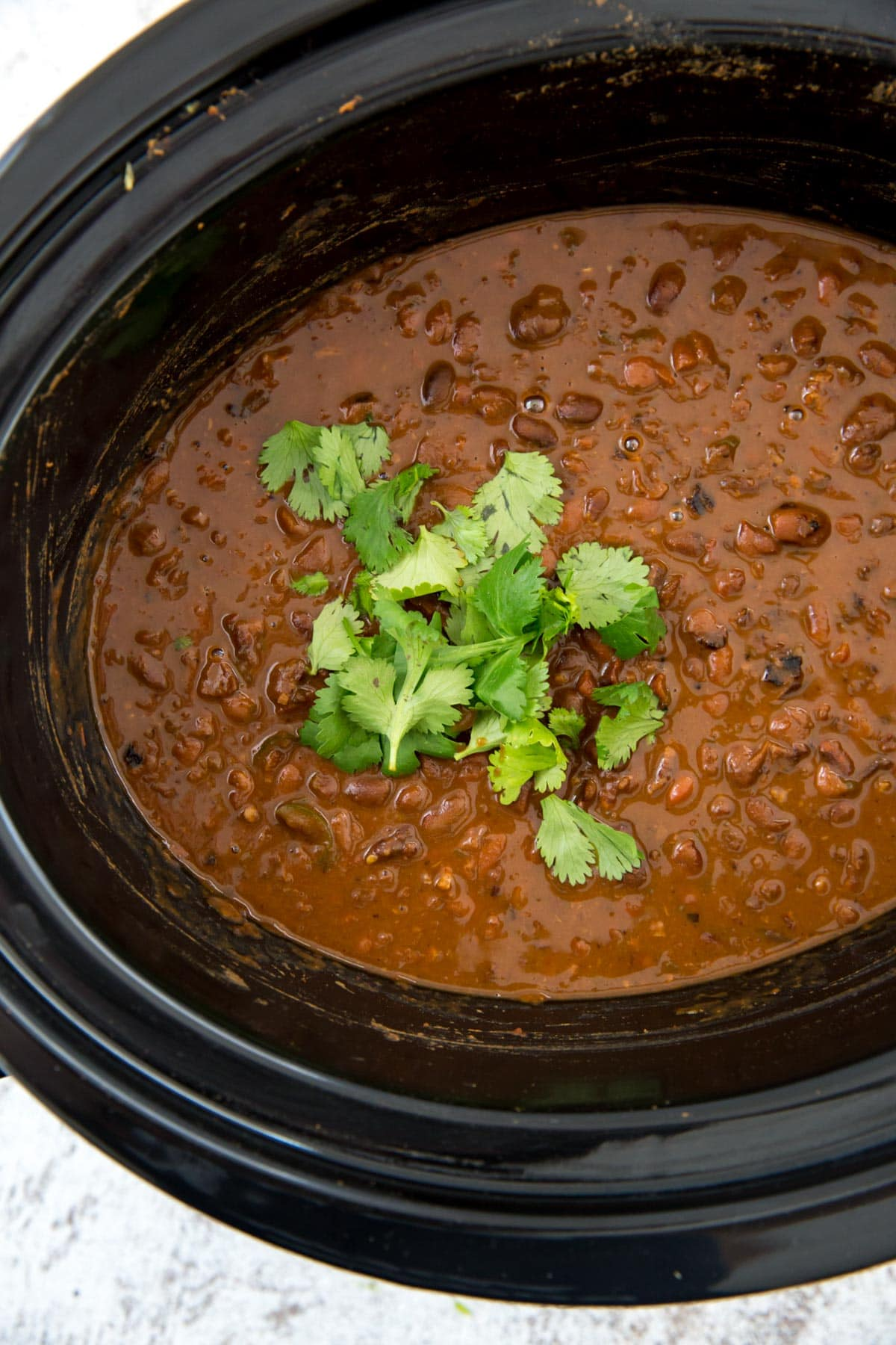mexican pinto beans, slow cooker, cilantro
