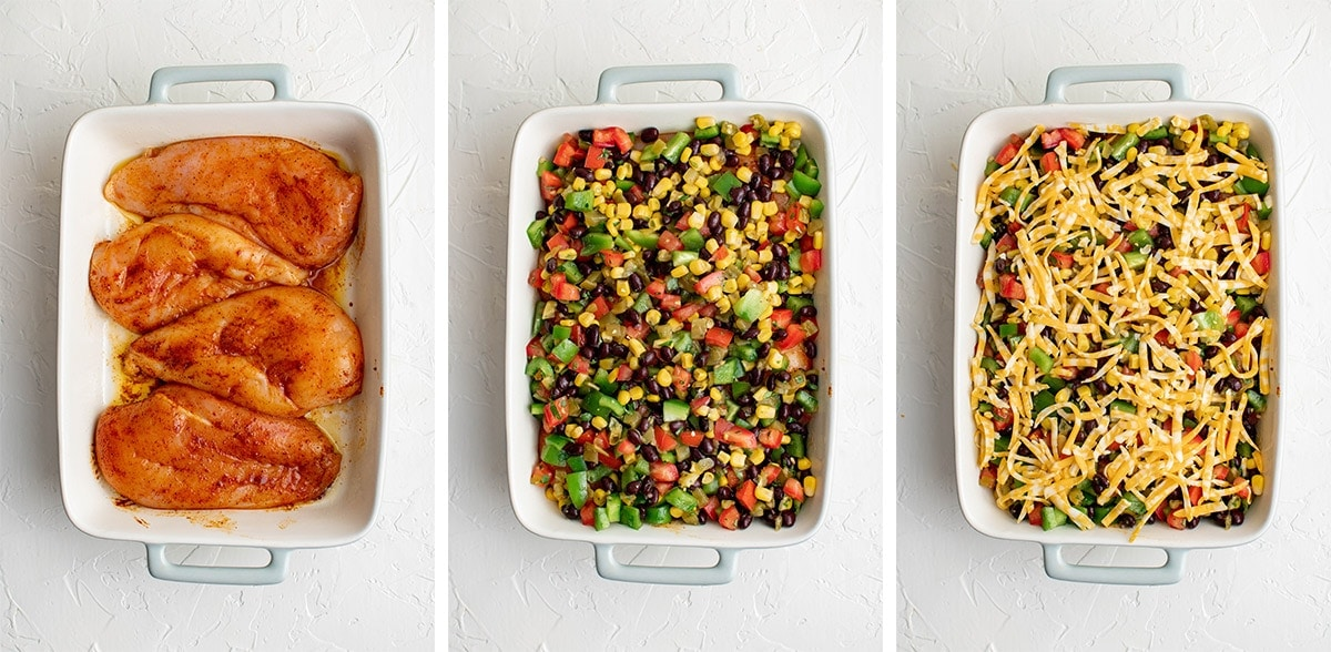 collage of images showing how to assemble southwest chicken bake