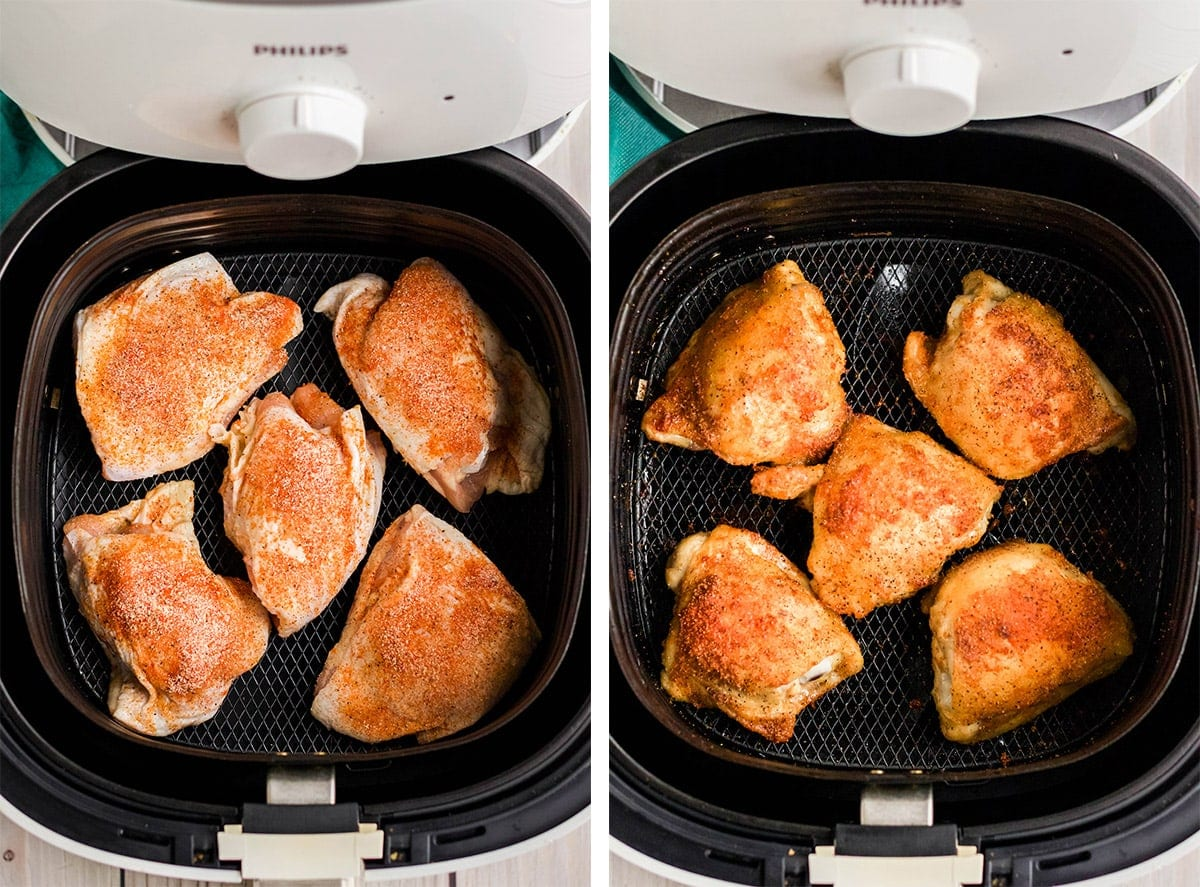 air fryer chicken thighs in air fryer basket, 2 images cooked and uncooked