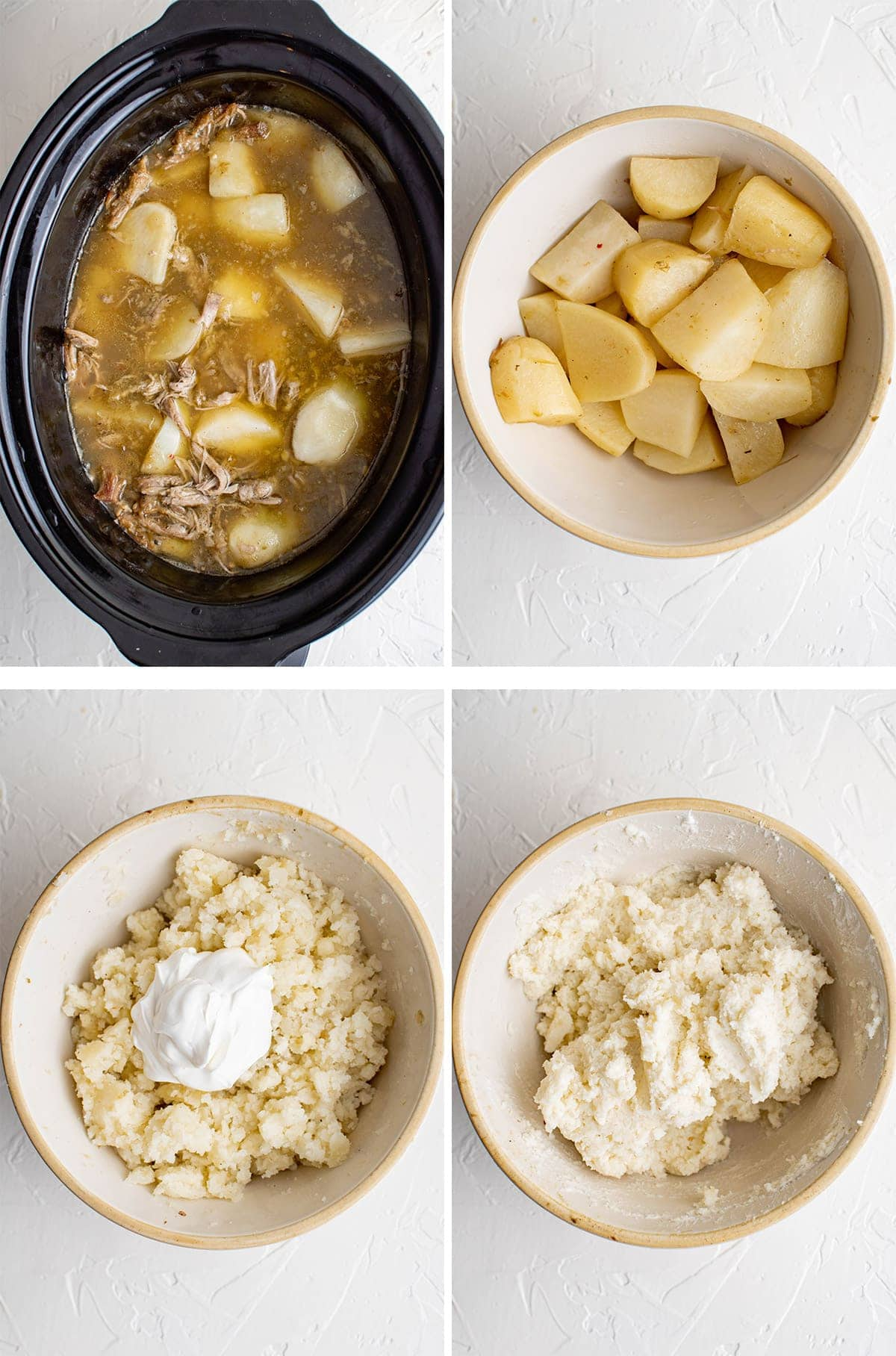 collage of images showing how to make mashed potatoes in the slow cooker with chile verde