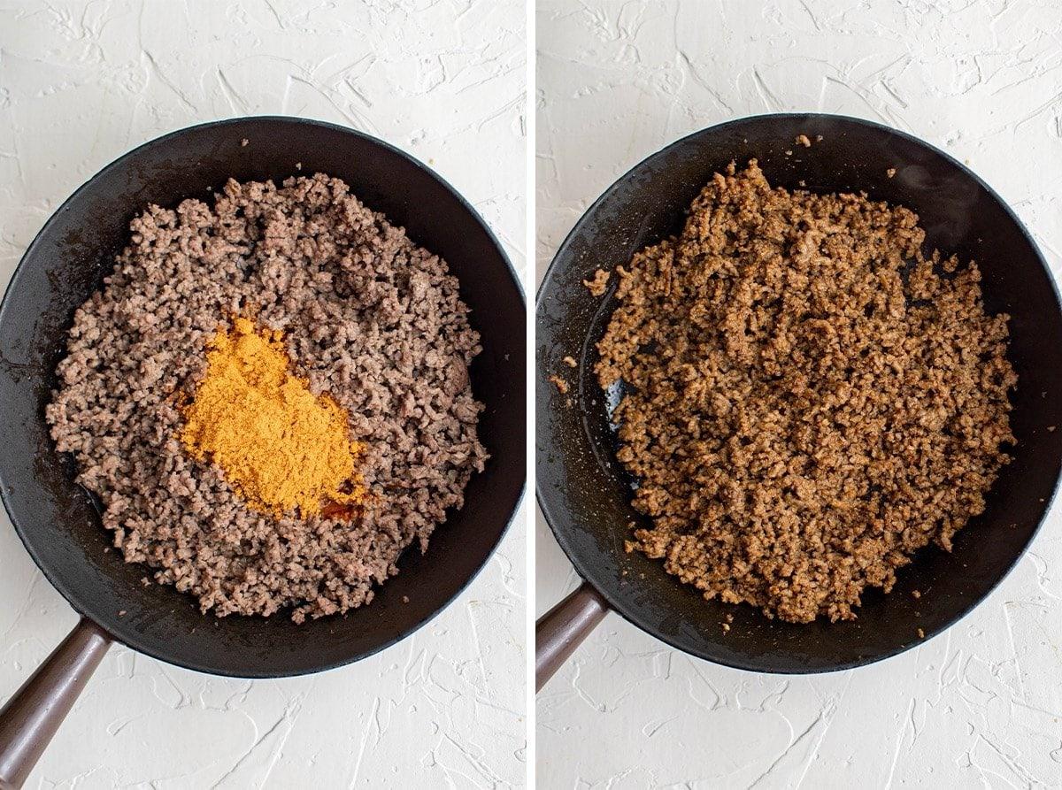 ground beef, cast iron skillet, taco seasoning