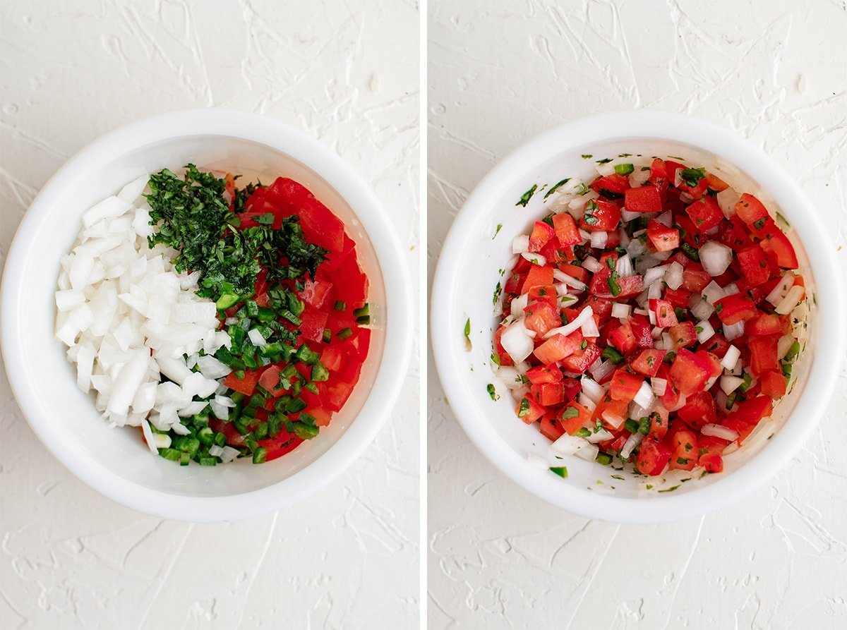 two images - pico de gallo before and after mixing