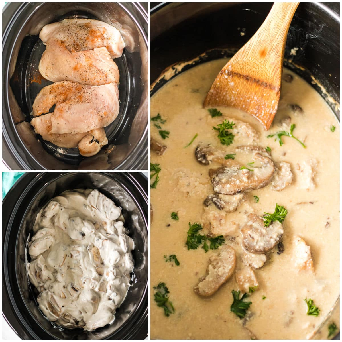 collage of making mushroom chicken in slow cooker