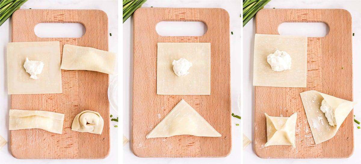 3 ways to fold wontons