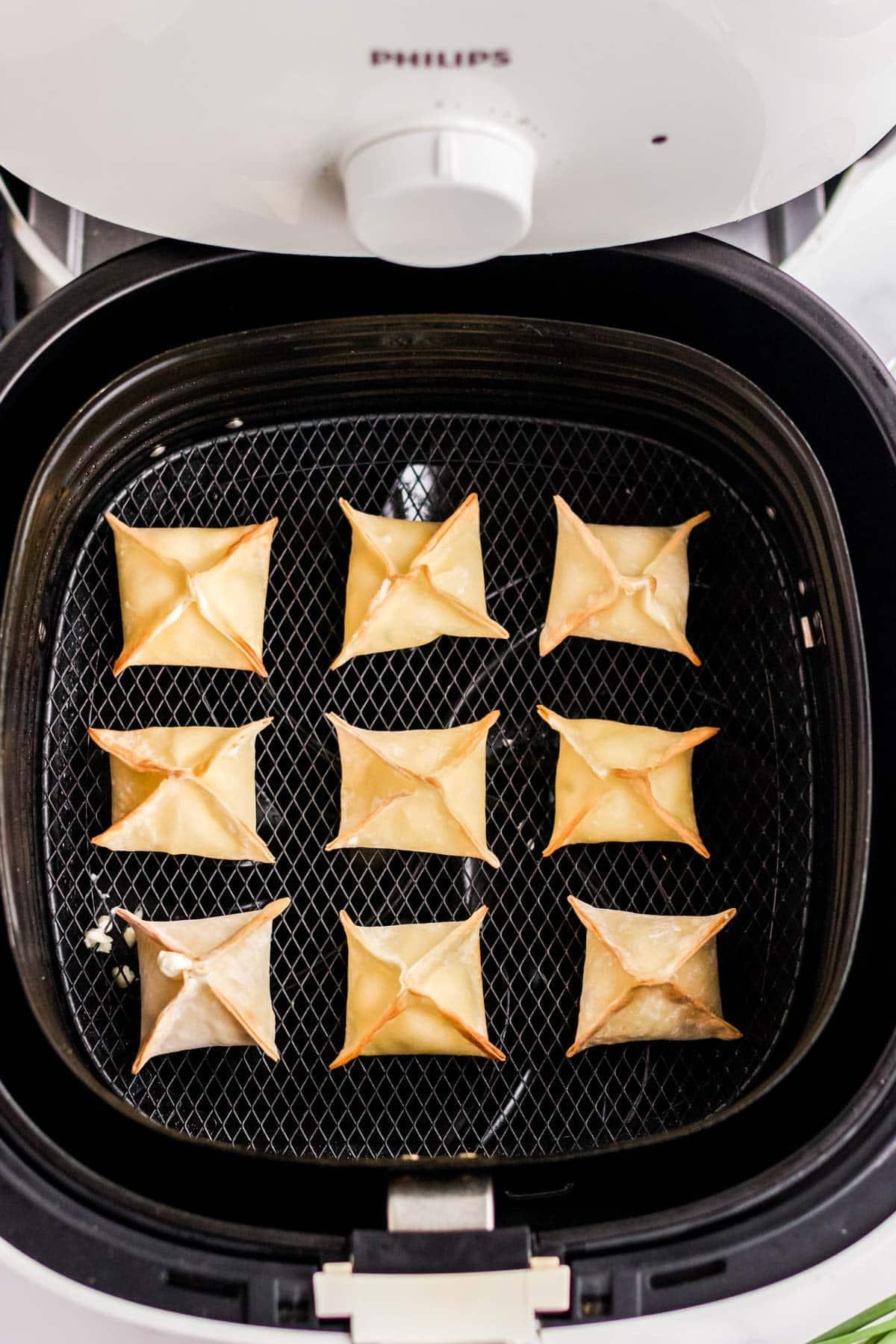 air fryer wontons in a basket