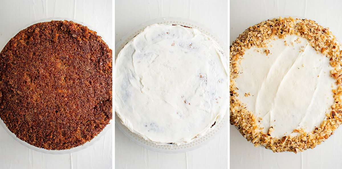 collage of images showing a carrot cake with and without frosting