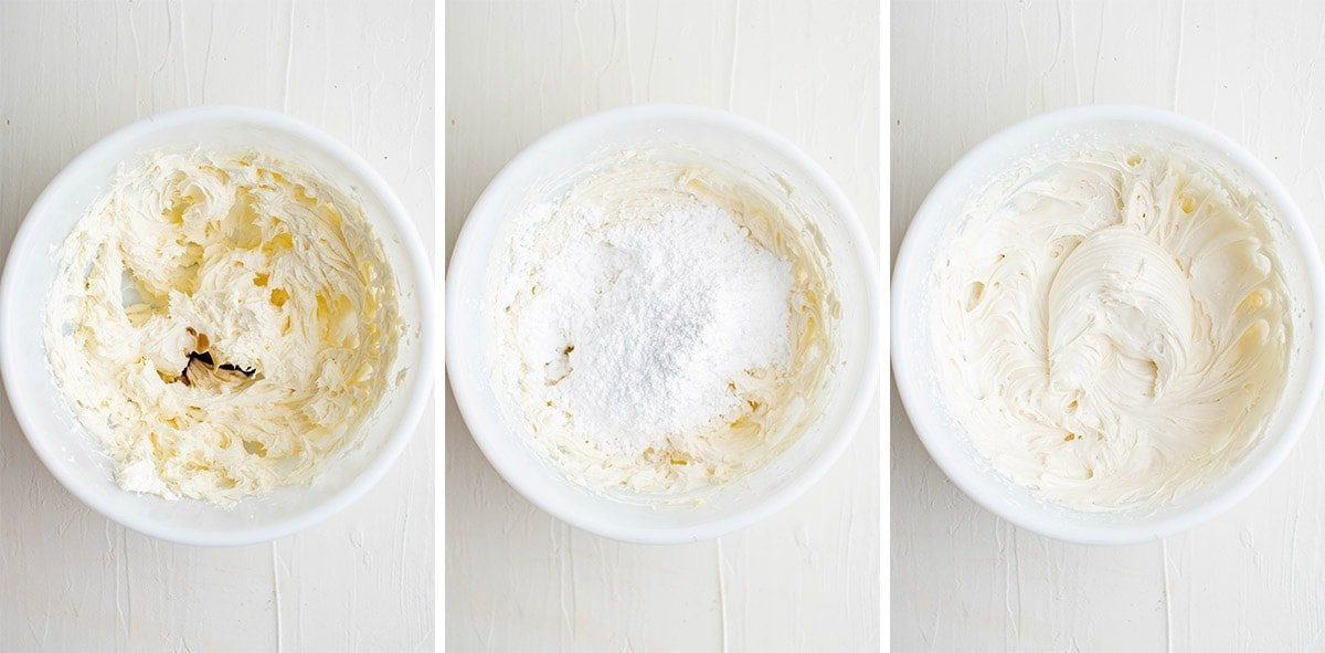 collage of images showing how to make crema cheese frosting