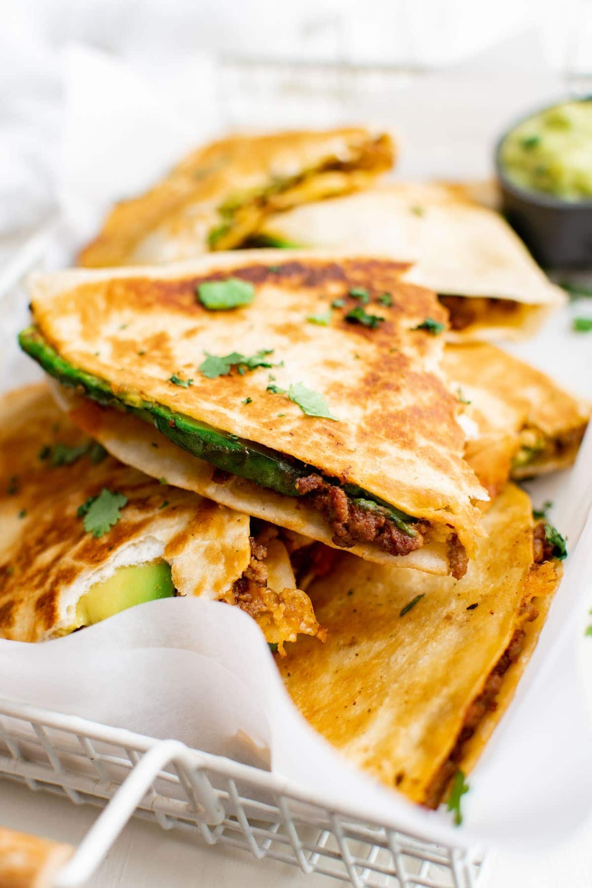 slices of quesadillas with ground beef