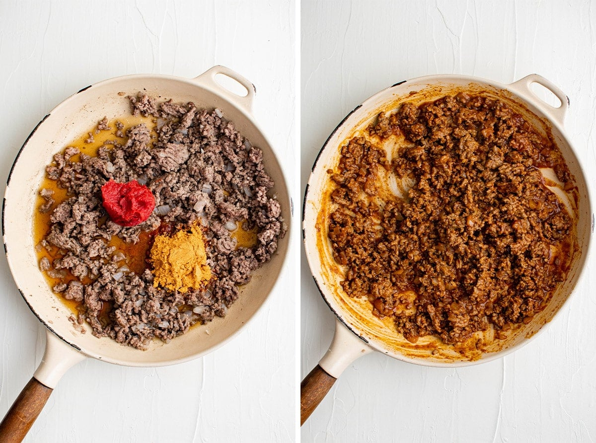 two images of a white skillet with ground beef cooking