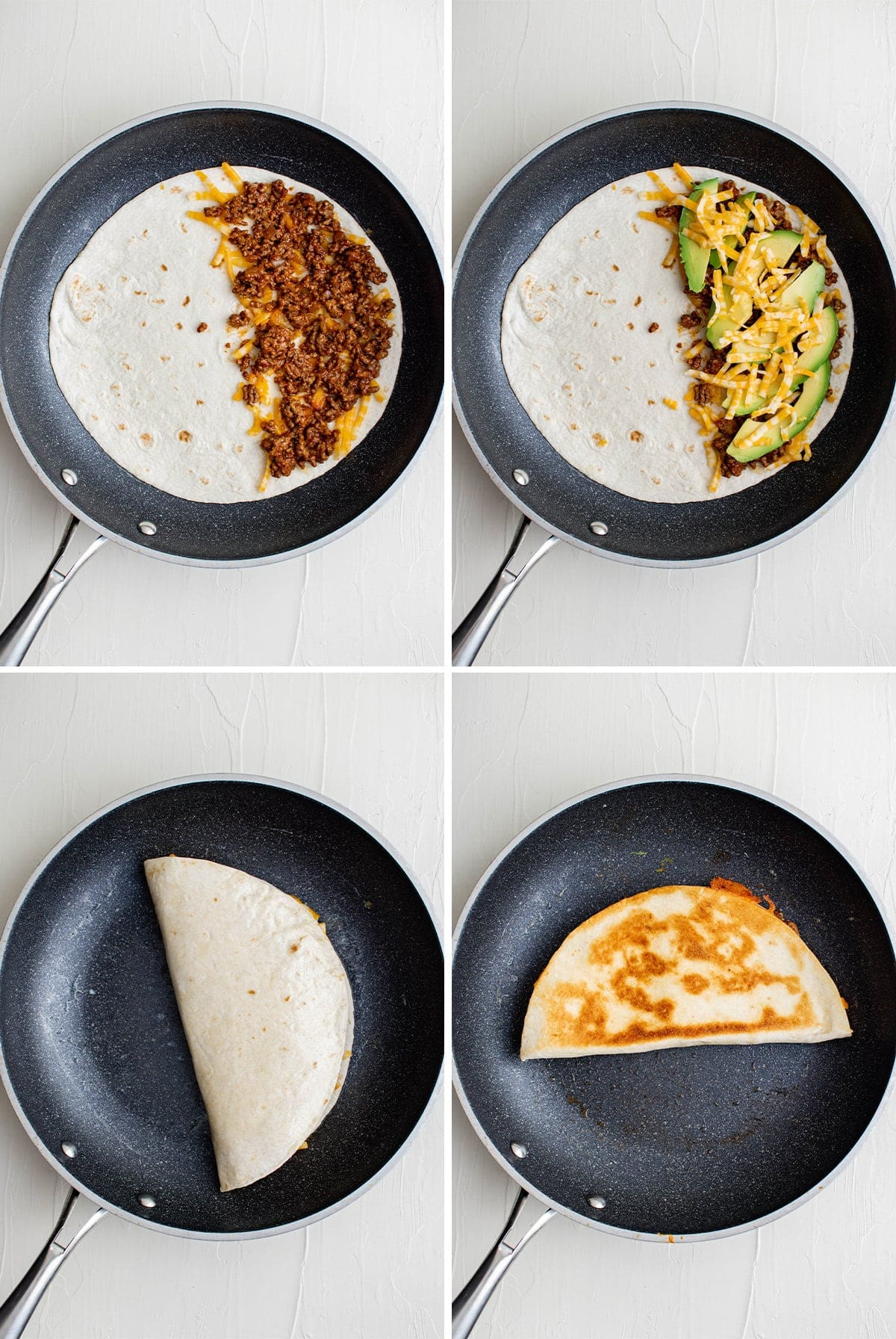 4 images of ground beef quesadillas cooking in a skillet