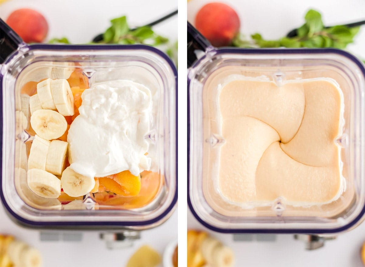 collage of 2 images showing how to make a peach smoothie