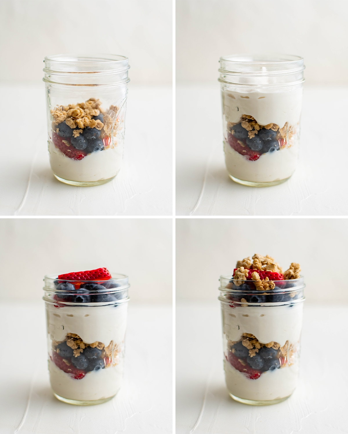 collage of images showing how to make a berry yogurt parfait