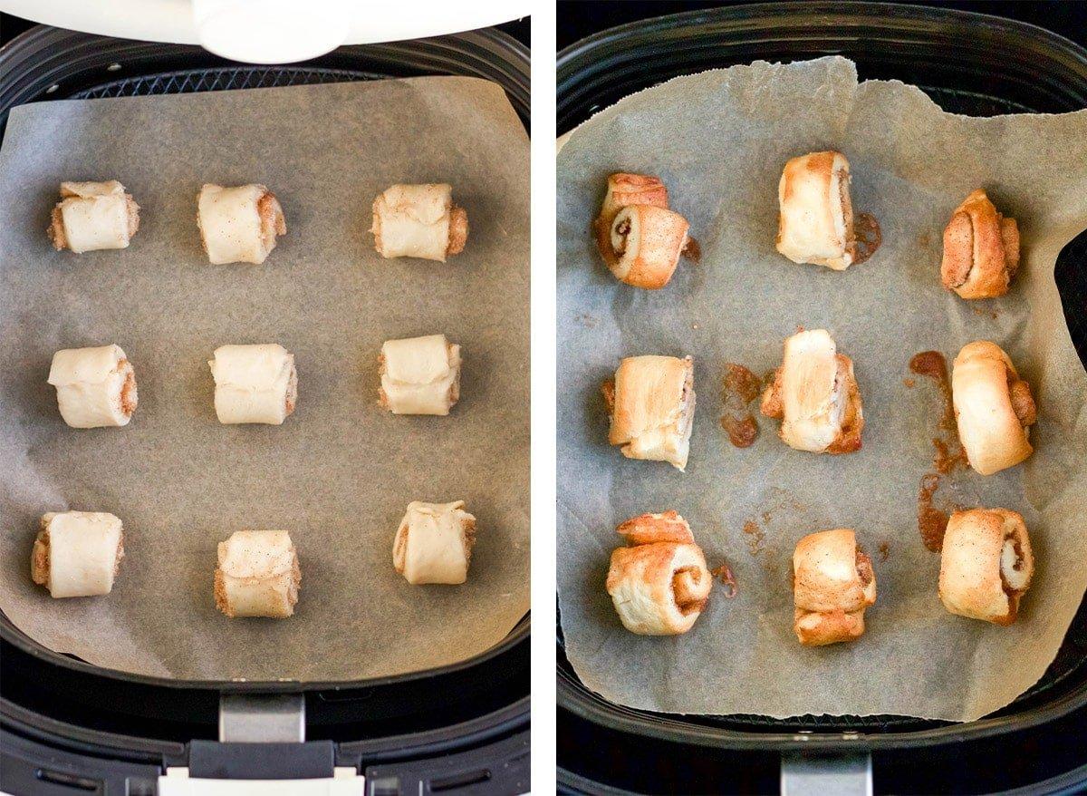 cinnamon rolls in air fryer basket