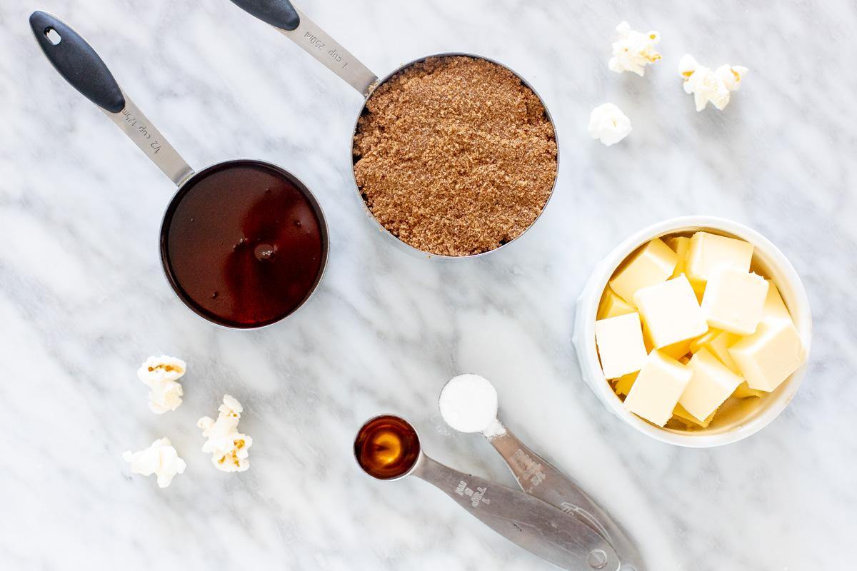 Ingredients for caramel popcorn