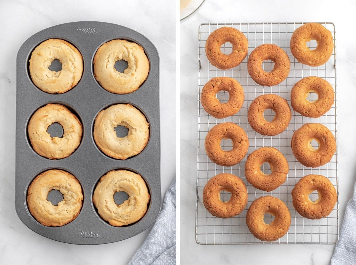 2 image collage showing baked donuts in a donut pan and on a wire rack