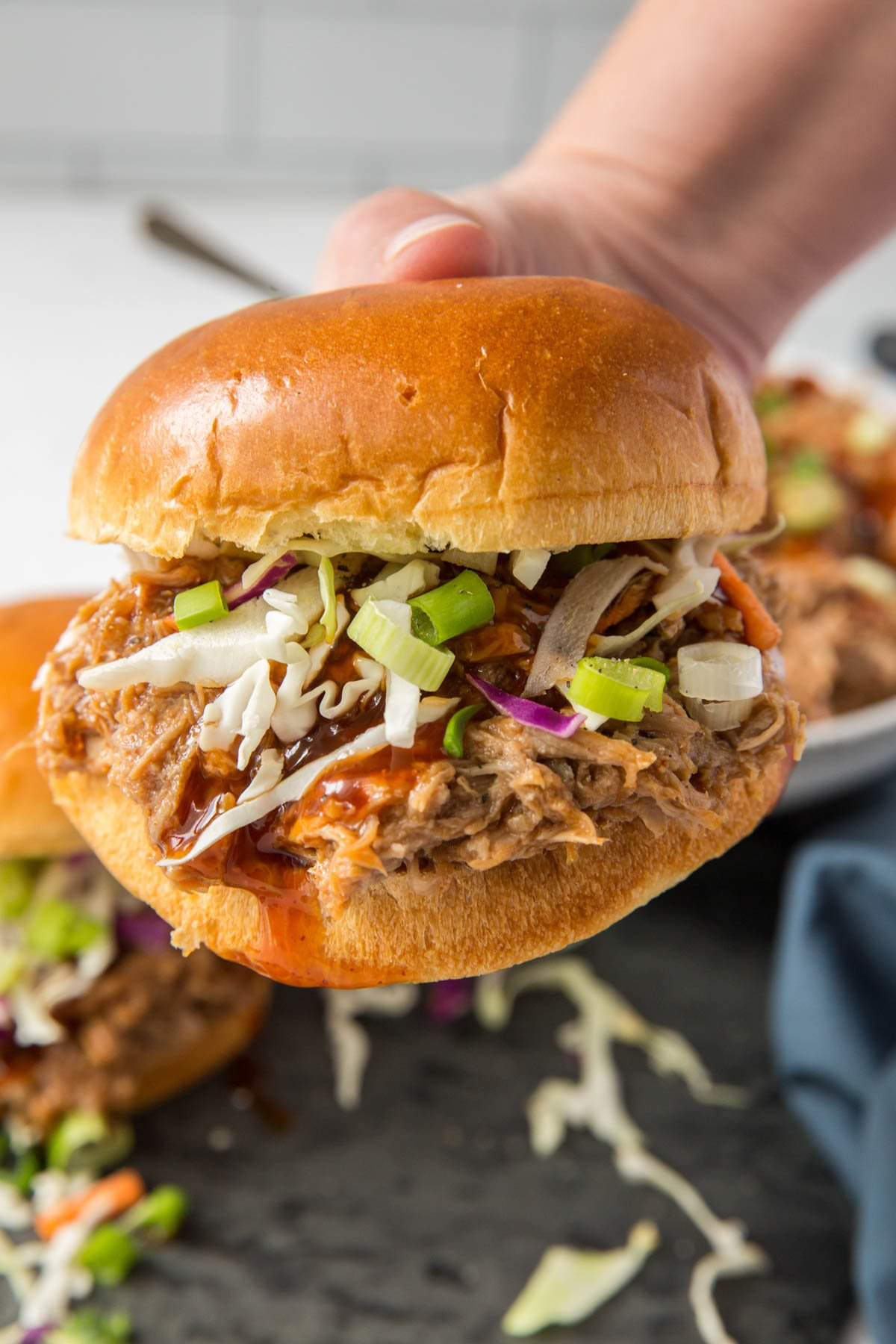 a hand hold a bbq pulled pork sandwich