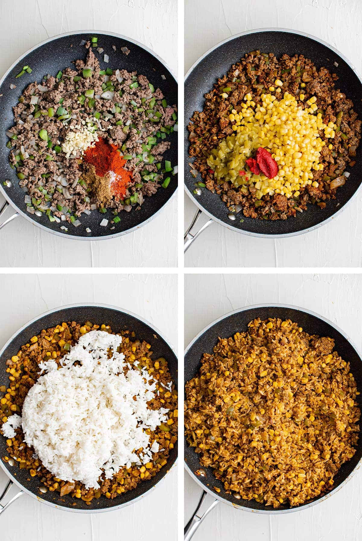 collage of images showing oe to make fried rice with mexican flavors