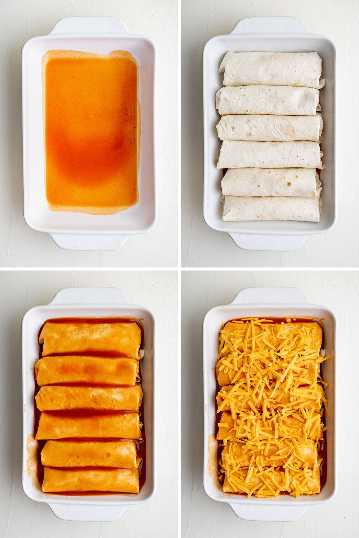 collage of images showing how to assemble wet burritos