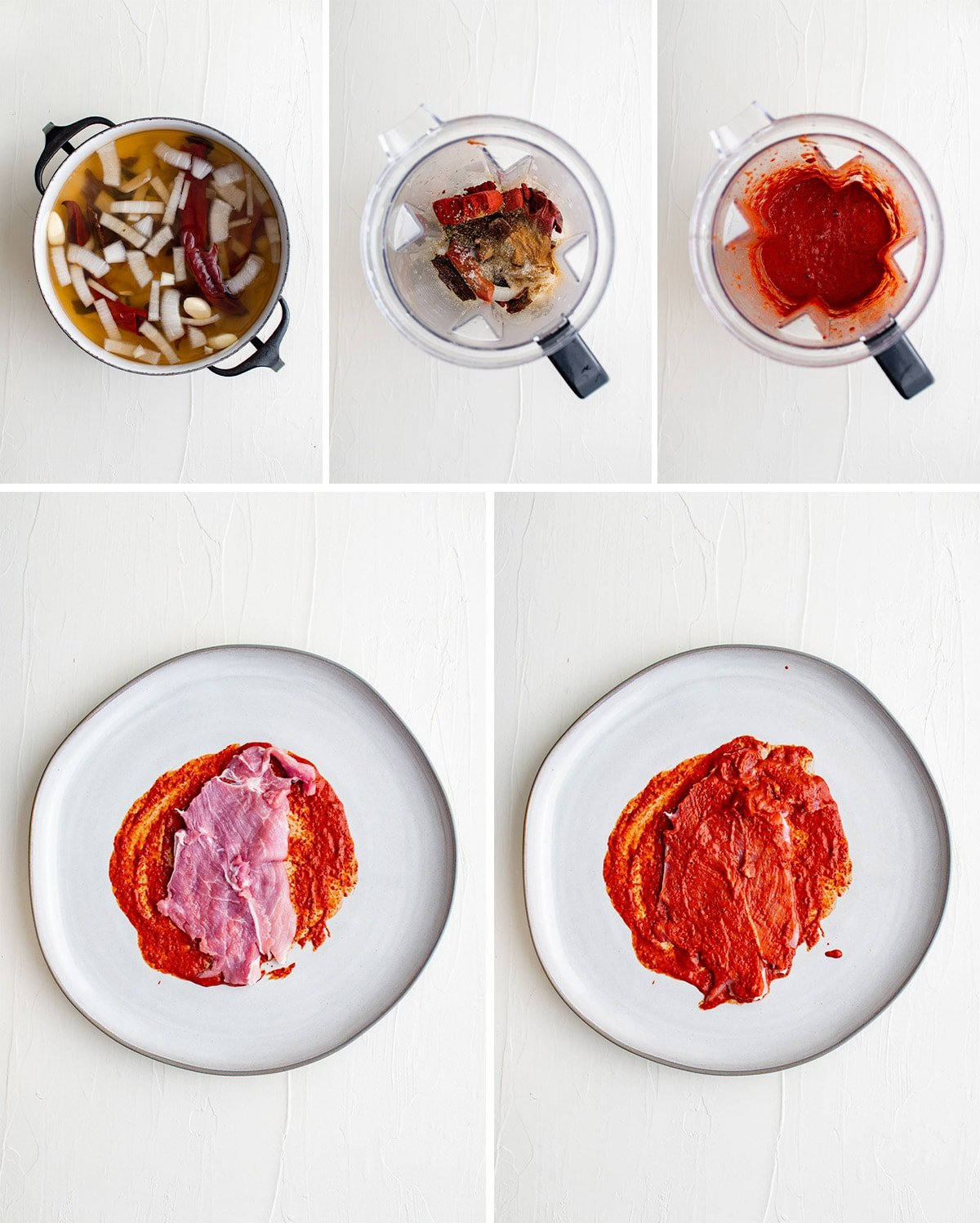 collage showing how to make marinade for tacos al pastor