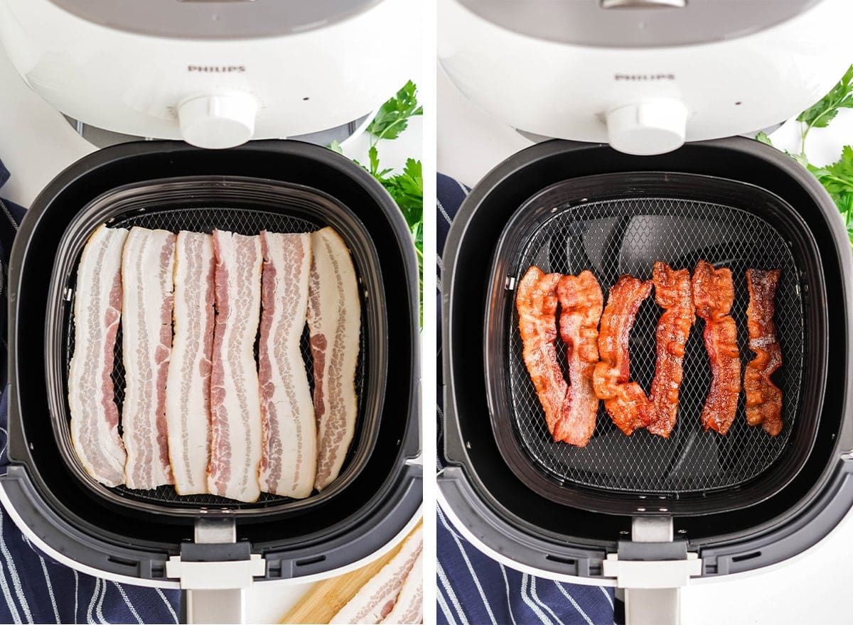 raw and cooked air fryer bacon collage