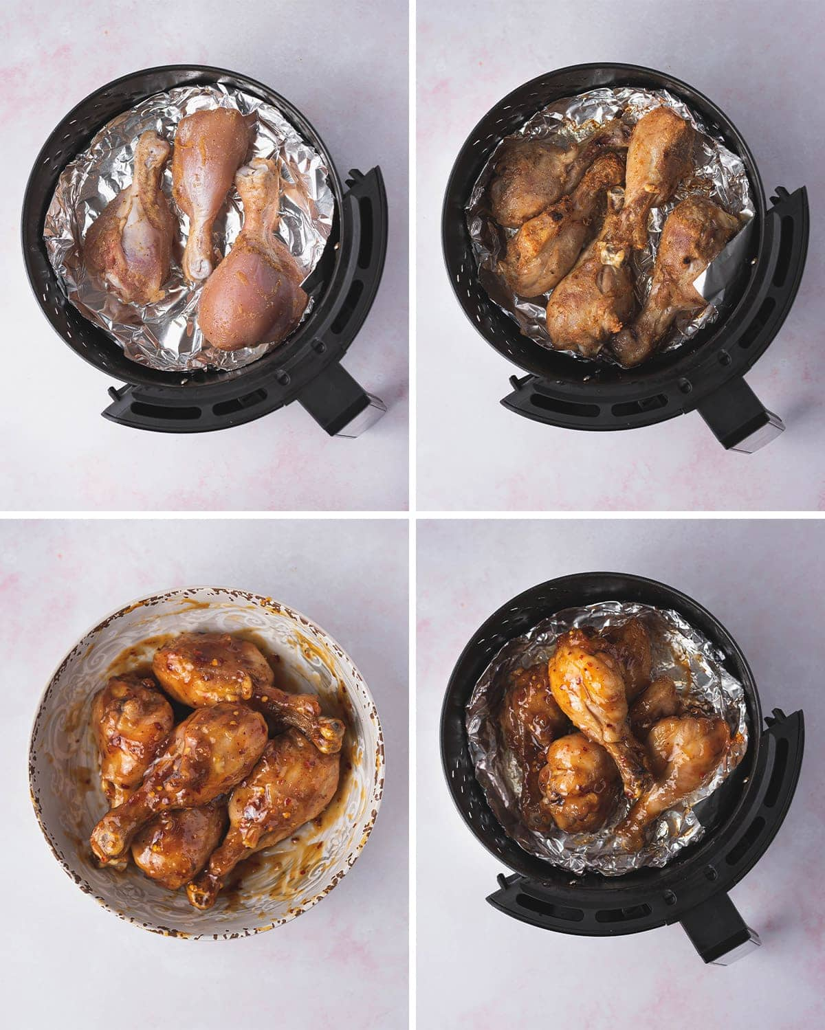 collage of images showing how to make chicken drumsticks in the air fryer