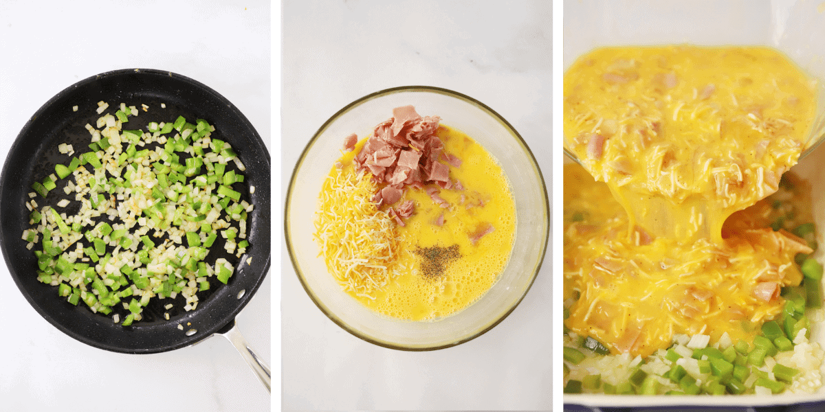 Process shot of how to Make a Denver Omelet, Sauteeing Veggies, Mixing Ham and Eggs Mixtures together, Pouring into a casserole dish