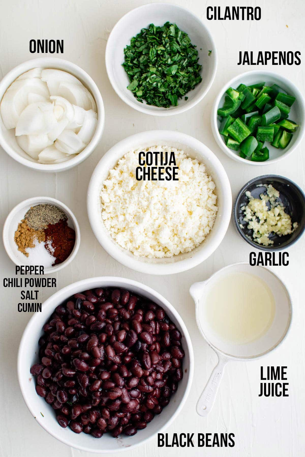 black beans, onions, garlic, and other ingredient with labels