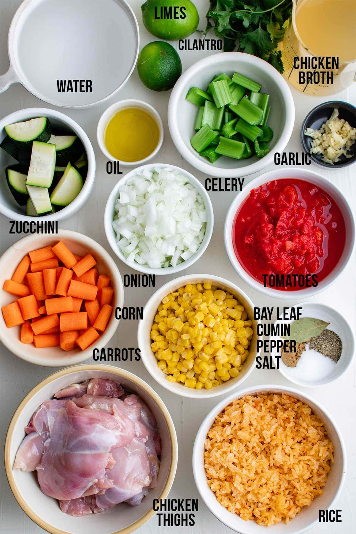 ingredients for mexican chicken soup with titles