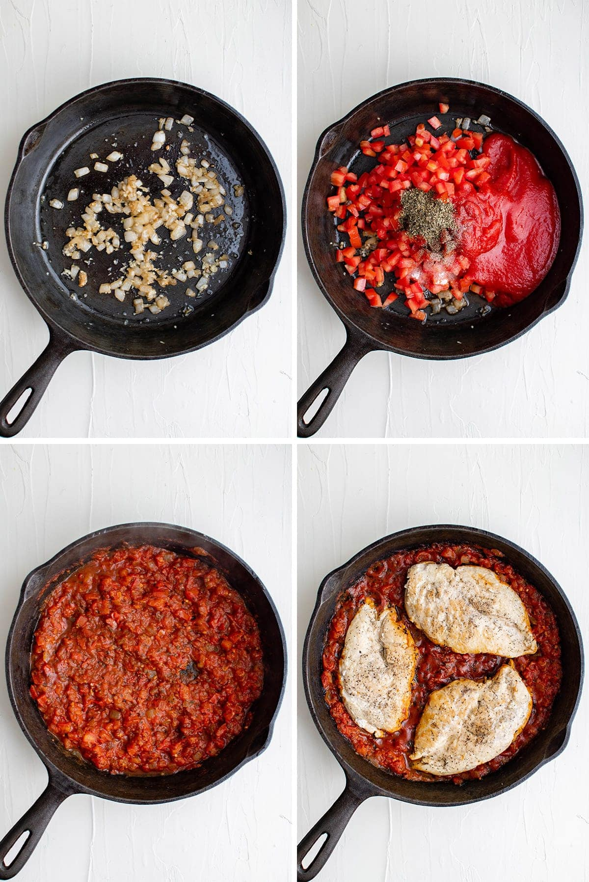 collage of images showing how to make skillet chicken pomodoro