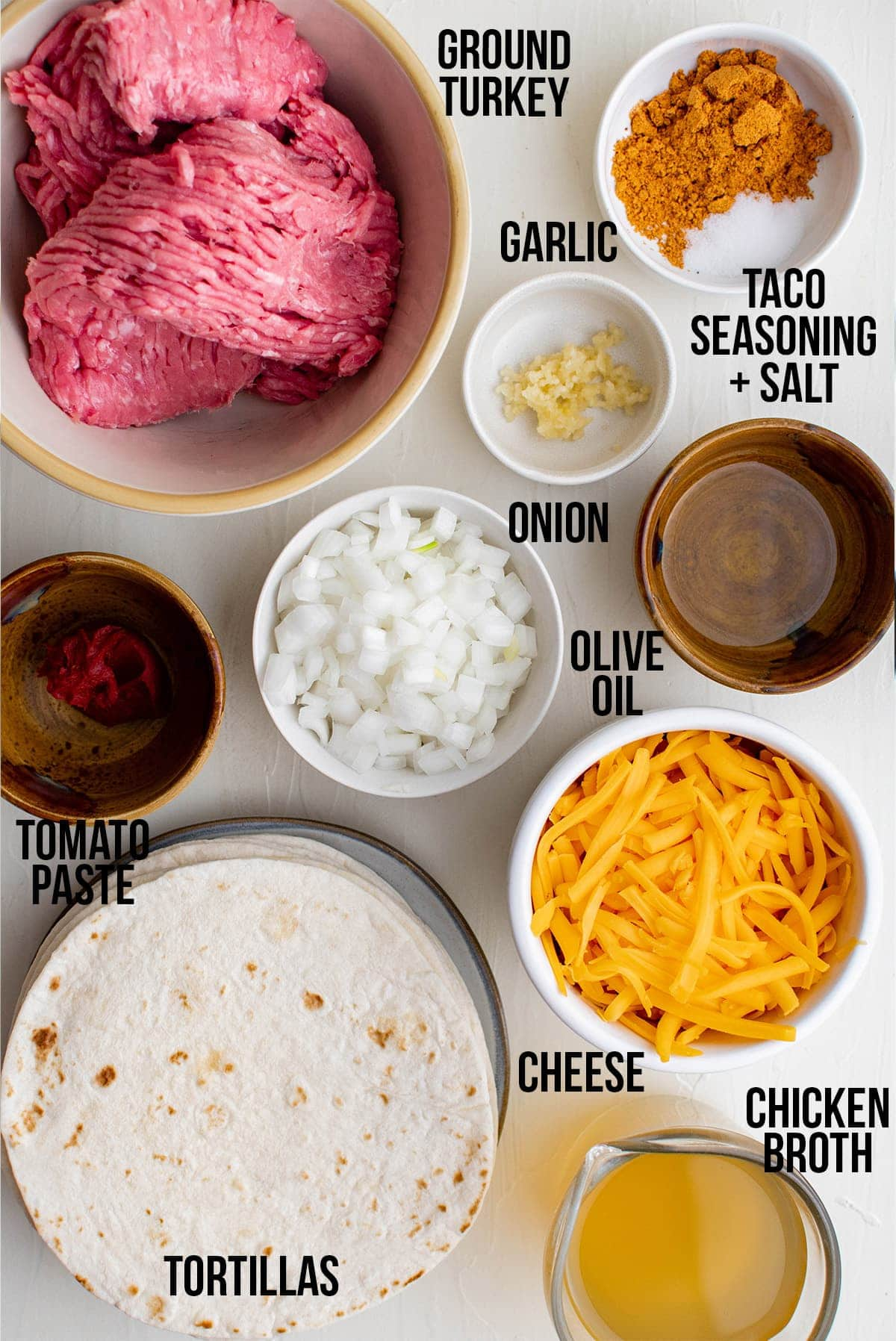 ground turkey tacos ingredients with labels