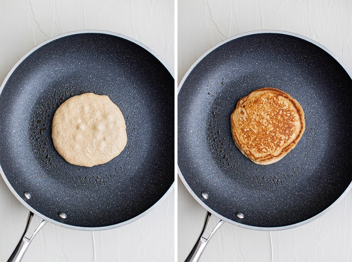 skillet with an oatmeal pancake cooking.