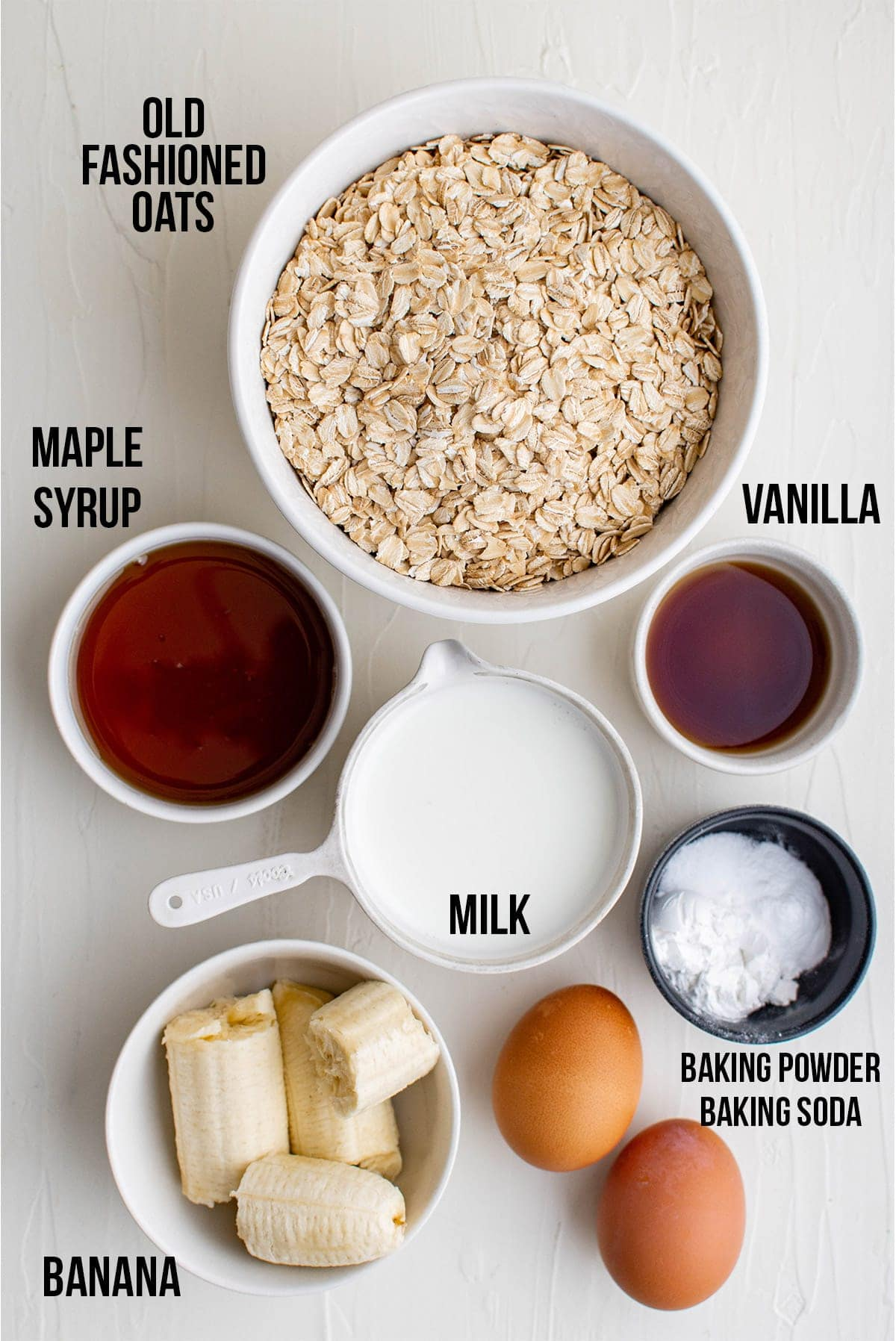 ingredients for oatmeal pancakes labled