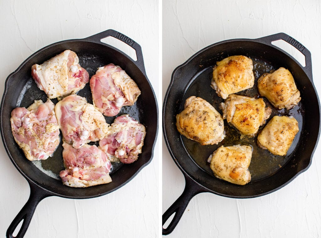 Before and after fried chicken thighs in cast iron pan