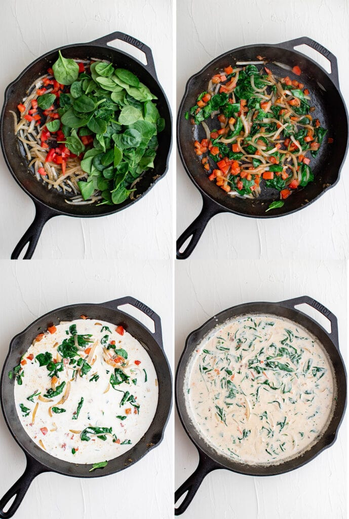 Step by step instructions how to make tuscan chicken cream