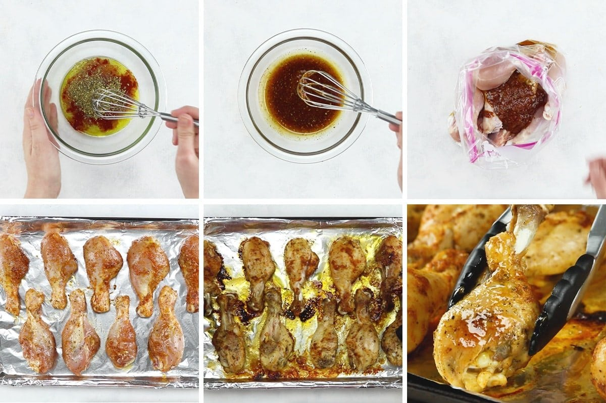 collage of images showing hoe to marinate chicken legs and how to roast them